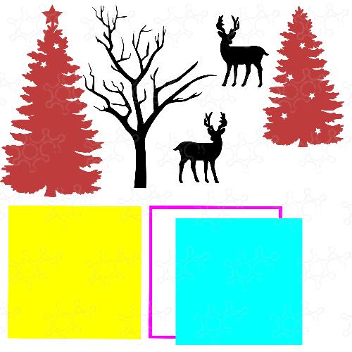 paesaggio con renne e base luminosa