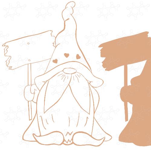 gnometto con cartello