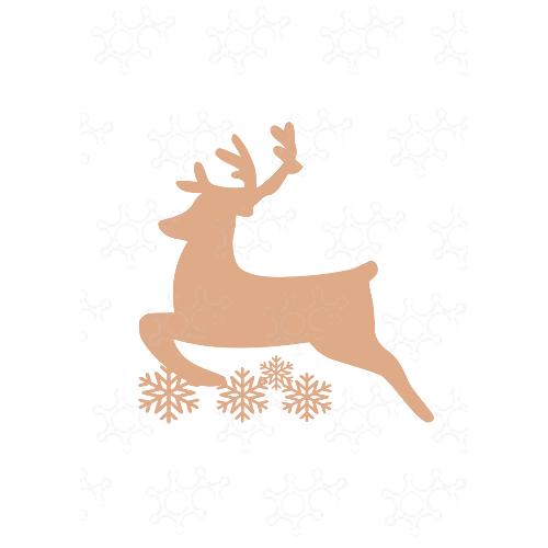 renna con fiocchi di neve