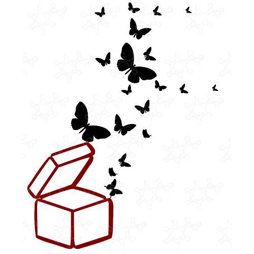 Scatola con farfalle